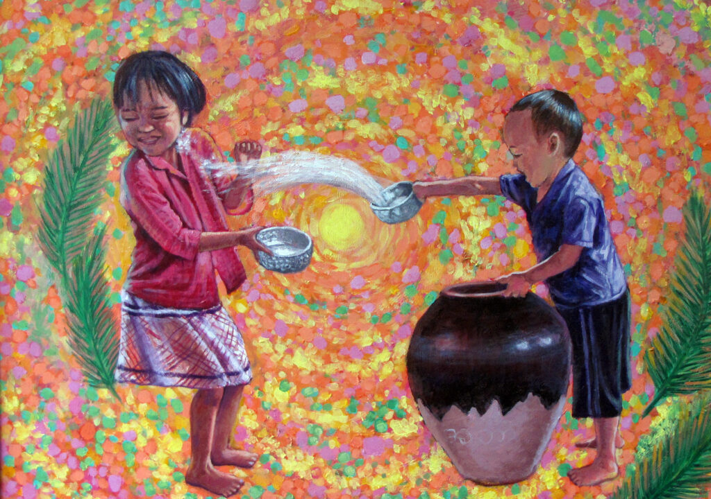 Myint Tun Aung (2016) - Innocent Life, acrylic on canvas.